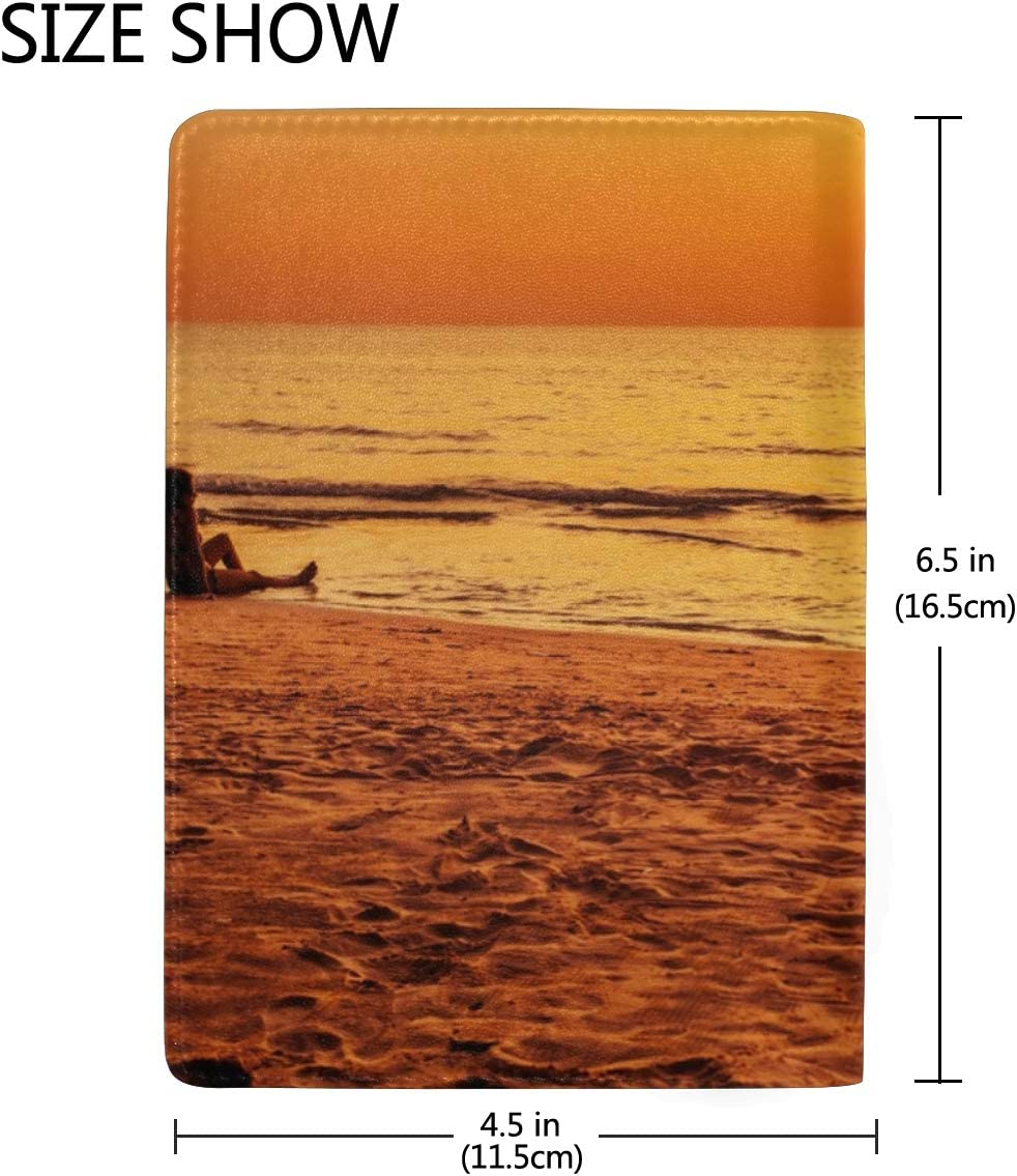 Sun Setting On The Beach With Orange And Yellow Sky Blocking Print Passport Holder Cover Case Travel Luggage Passport Wallet Card Holder Made With Leather For Men Women Kids Family