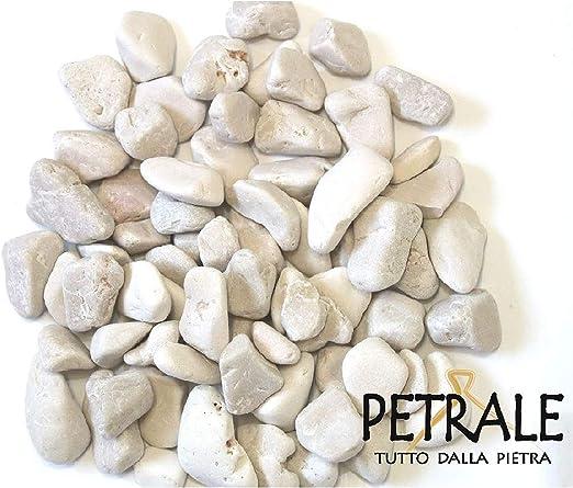 Piedras de mármol blanco de Carrara, diámetro 15/25 mm. Saco de 25 kg, para macetas: Amazon.es: Jardín