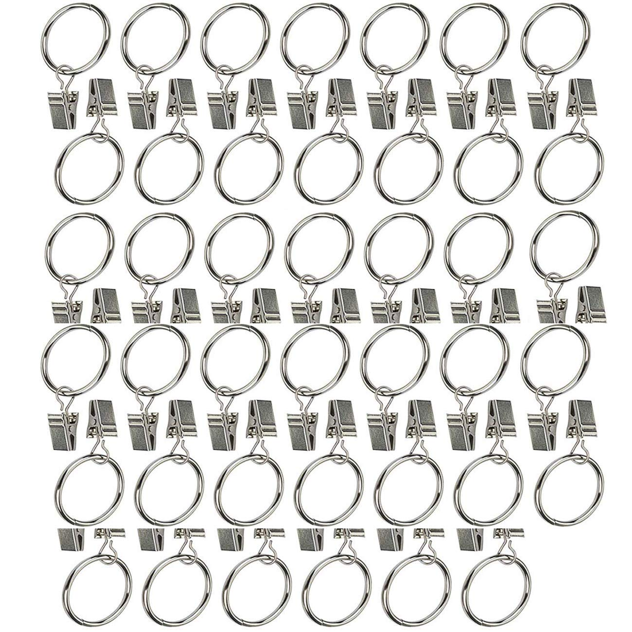 CRIVERS Practical Metal Rustproof Curtain Clips Rings Drapery Curtain Rings with Clips (40pc)