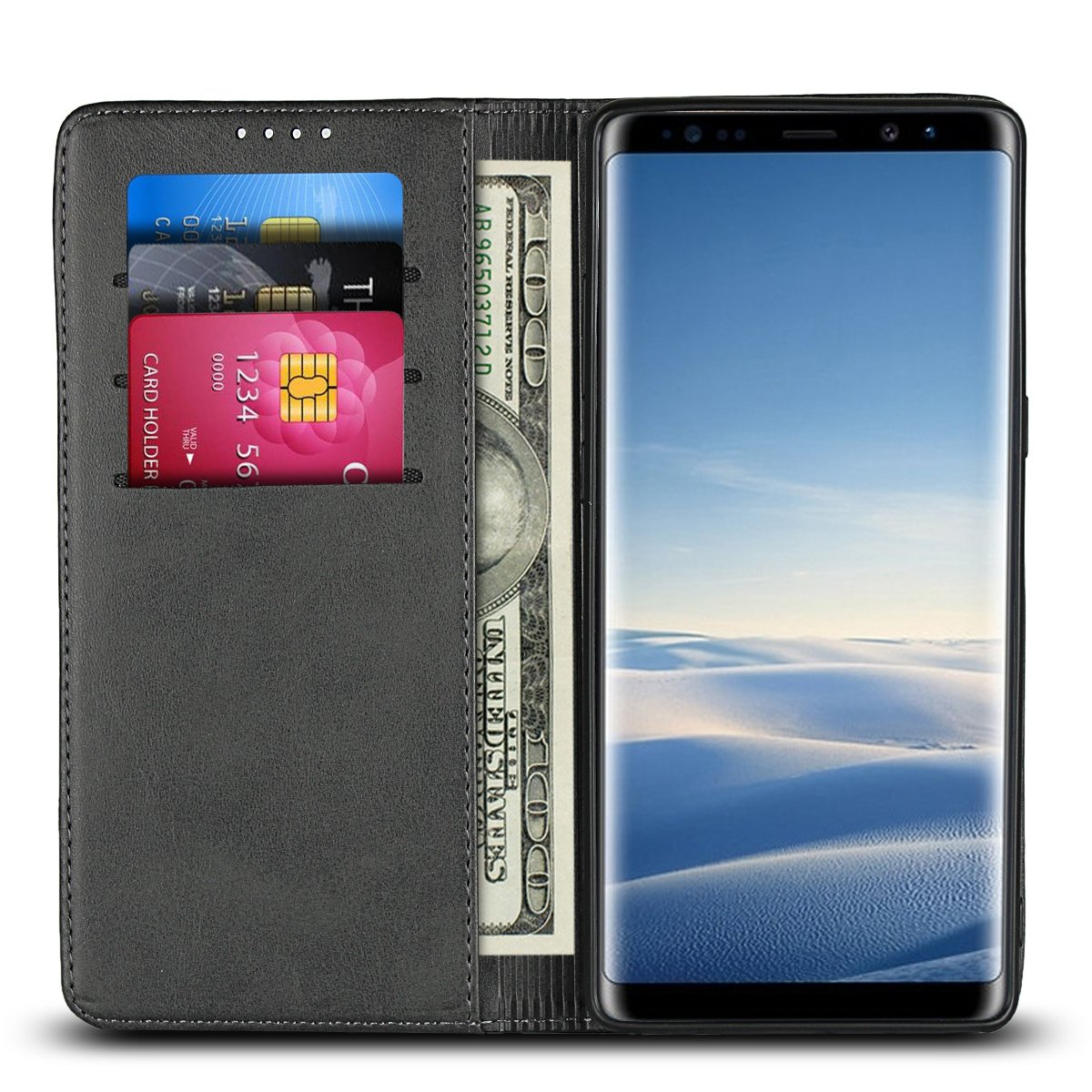 Galaxy Note 9 Leather Wallet Case, PU Leather Pouch Folio Flip Purse Bag Wallet Case with Credit Card Holder Magnetic Closure Protective Cell Phone Cover for Samsung Galaxy Note 9 (2018) 6.4'' - Black