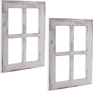 Nicunom 2 Pack Window Frame Wall Decor, Rustic Wood Window Pane Decorative Country Farmhouse Home Wall Decor for Entryways, Living Room, Dining Room, Bedroom, Rustic White