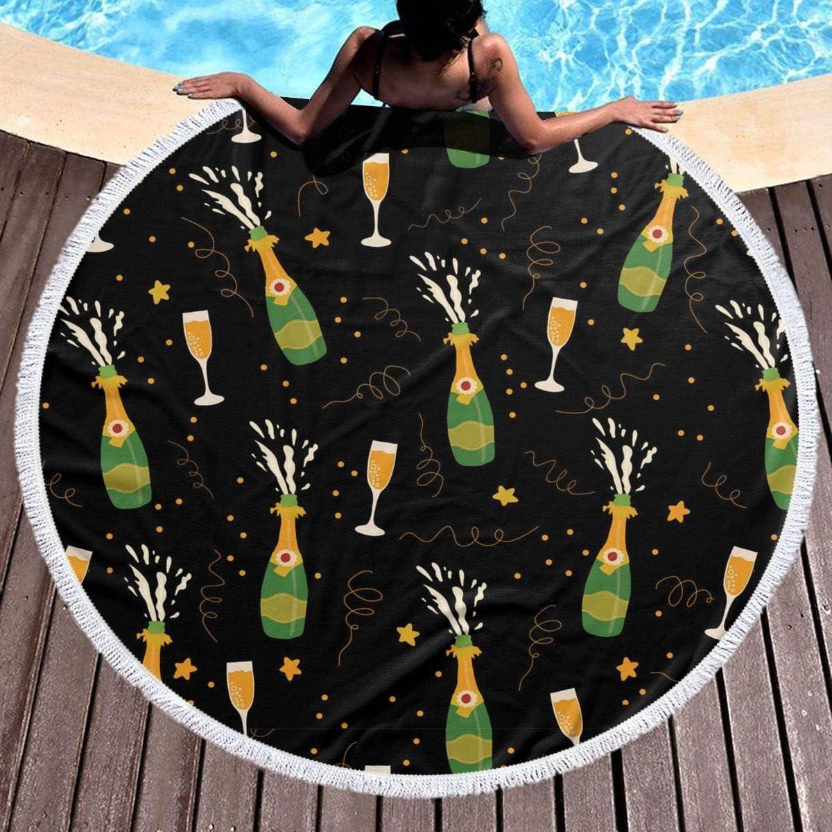 Round Towel Fruit Pattern Carpet Pool BeachBlanket Mat for Kids /& Adults