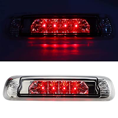 Sanzitop Hight Mount Stop Light LED 3rd Brake Light Automotive Tail Lights Brake Lamp for Jeep Cherokee 1997 1998 1999 2000 2001 55155614AE (Chrome Housing Clear Lens): Automotive