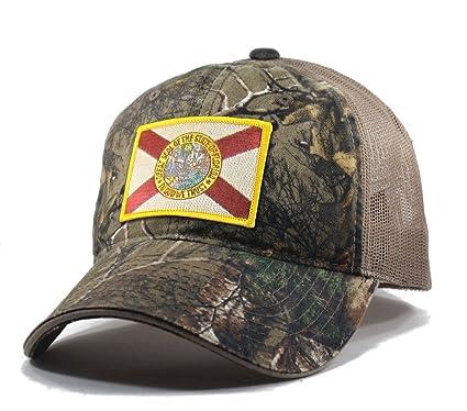 7471c9a7617 Amazon.com  Homeland Tees Men s Florida Flag Patch Camo Trucker Hat ...