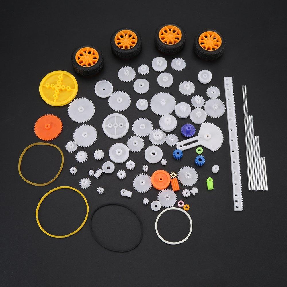78 st/ücke Kunststoff-getriebe Achse G/ürtel Buchsen Riemenscheibe Wurm Rack Kits Getriebe Set Welle G/ürtel DIY Set spielzeug