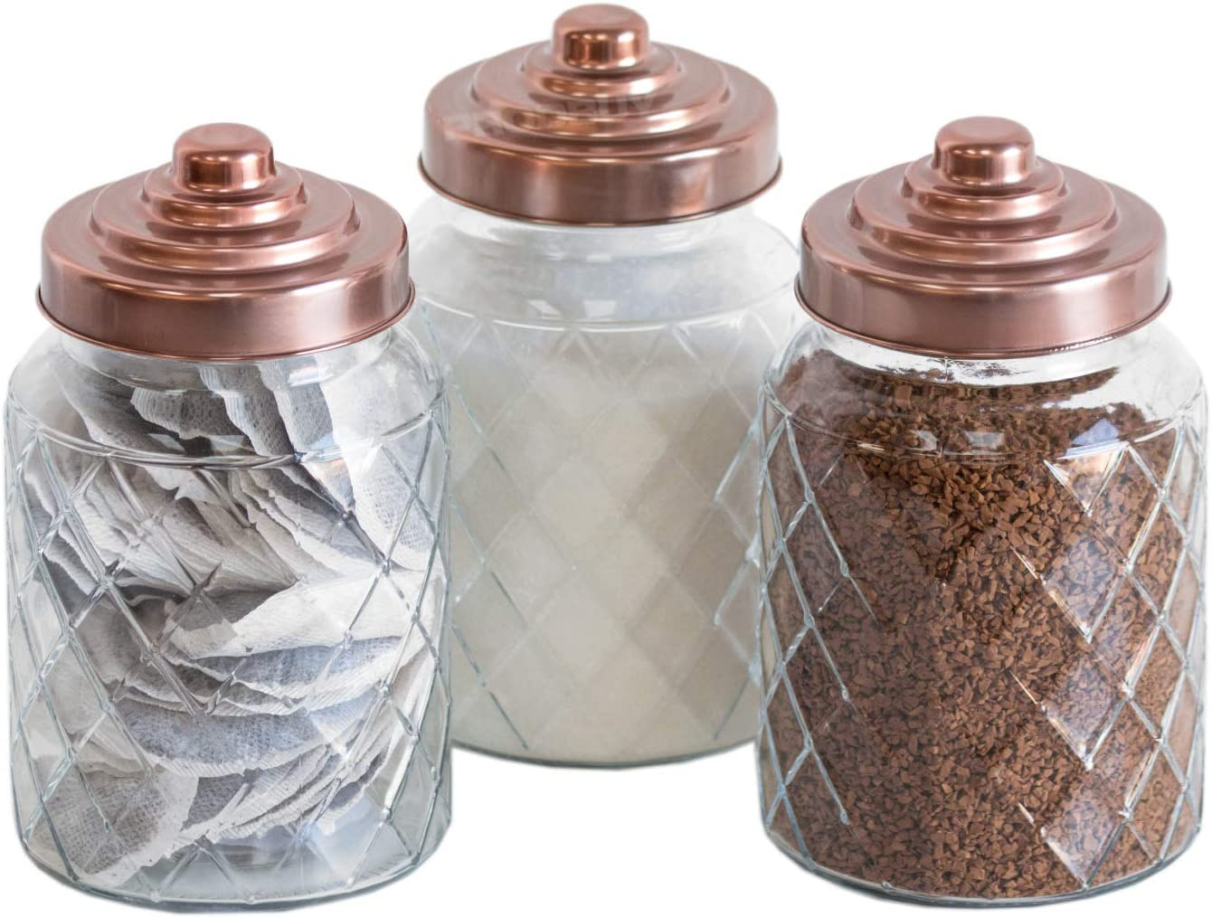 3 x 1000ml Glass Storage Canisters with Copper Coloured Lids