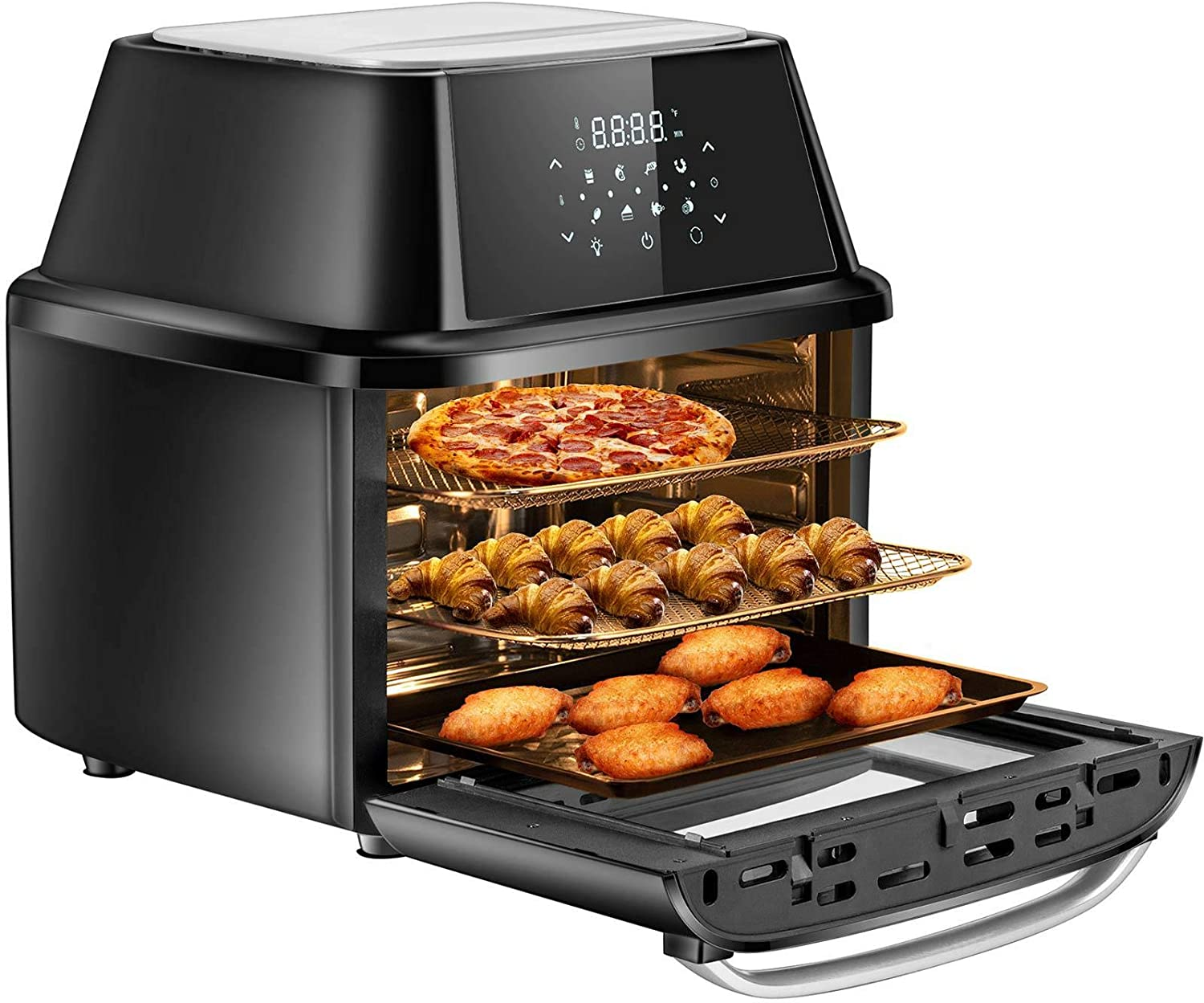 OMMO Air Fryer Oven, 17 Quarts 1800W Air Fryer Toaster Oven, 8 Presets & 40+ Recipes, Oilless Countertop Oven for Air Frying, Rotisserie, Dehydrating and Baking, Dishwasher Safe Accessories