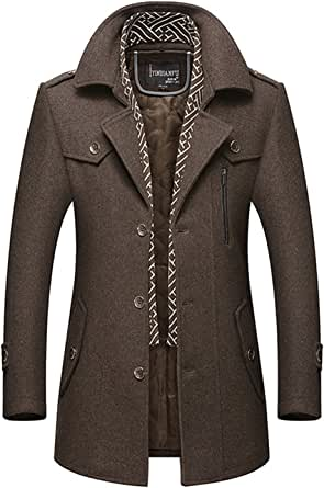 FUNFOA Men's Fashion Lapel Scarf Wool Coats Reefer Jackets Mid-Long Slim Fit Parke Leisure Trench Coat