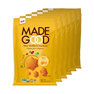 MadeGood Cheddar Star Puffed Crackers, Gluten Free and USDA Organic 6 Bags (4.26 oz Each); Contain Nutrients of One Full Serving of Vegetables, Nut and Allergen Free Snacks
