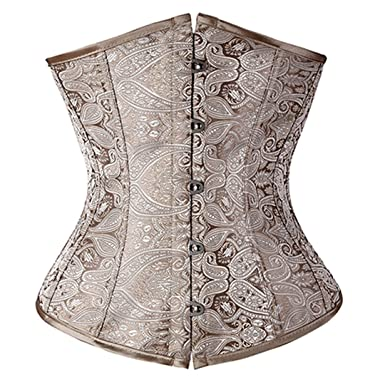 85684a83dc85a Ringrun Women Gothic Bustier Corset Size up to L Lace up Back Corselet  Print Corsets at Amazon Women s Clothing store