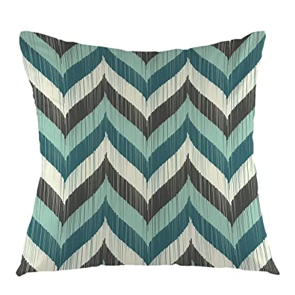 Miraculous Ofloral Chevron Pillow Cover Vintage Wave Teal And Grey Brown Aqua Chevron Zigzag Pillowcase Square Cushion Case For Sofa Couch Car Bedroom Living Evergreenethics Interior Chair Design Evergreenethicsorg