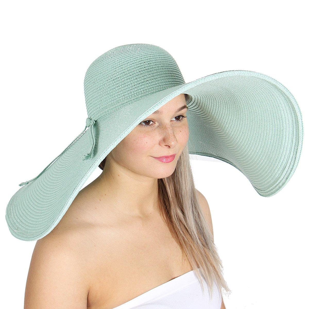 Hiking Hat Straw Wide Brim Hat Floppy Beach Hat SERENITA Summer Sun Hats for Women