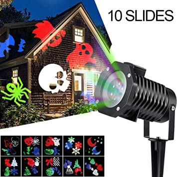 Amazon.com: Halloween Projector Light, 10PCS Pattern outdoor ...