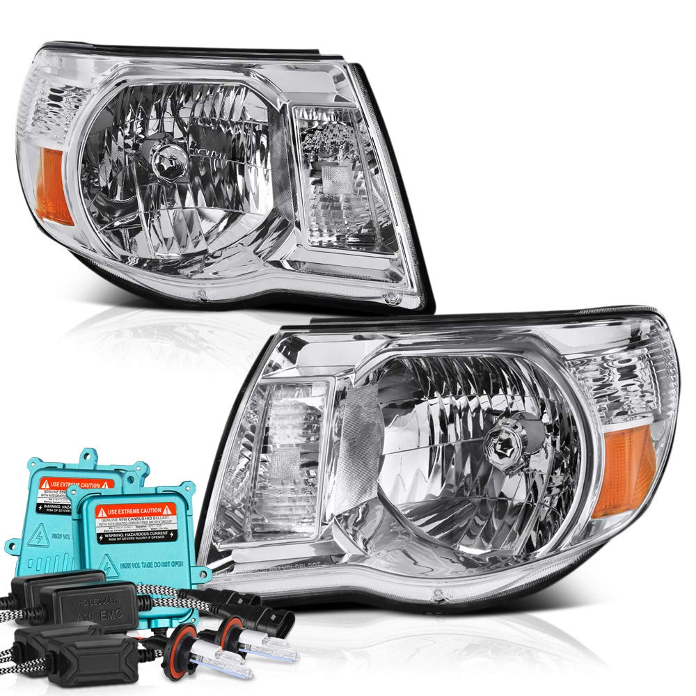 VIPMOTOZ Black Housing Headlight Headlamp Assembly For 2005-2011 Toyota Tacoma, Driver & Passenger Side