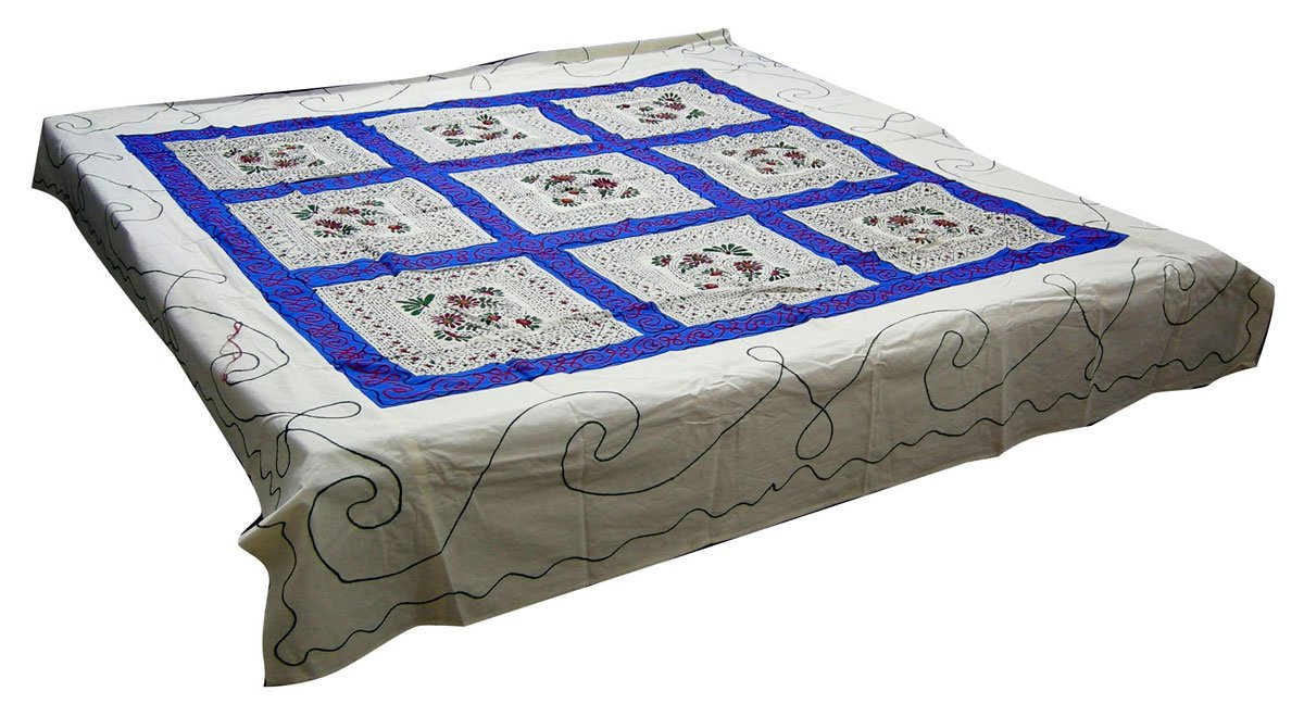 Handcrafted Decor Indian Queen Embroidered Cotton Bed Cover Ethnic Bedroom Decor 84 x 92 inches by ClothesCraft (Image #1)