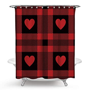 Red And Black Bathroom Decor.Qcwn Love Décor Shower Curtain Red Love On Light Red Black Gingham Checked Abstract Shower Curtain Set With Hooks For Bathroom Décor Black Red