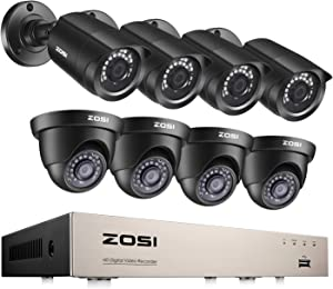 ZOSI 8CH Home Security Camera System Outdoor,5MP-Lite 8Channel H.265+ CCTV DVR and 8 x 1080p 2MP Weatherproof Surveillance Bullet Dome Cameras,80ft Night Vision, Remote Access,Motion Alerts (No HDD)