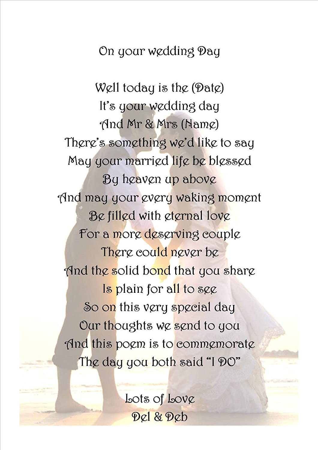 personalised poem ON YOUR WEDDING DAY GIFT for Bride and Groom