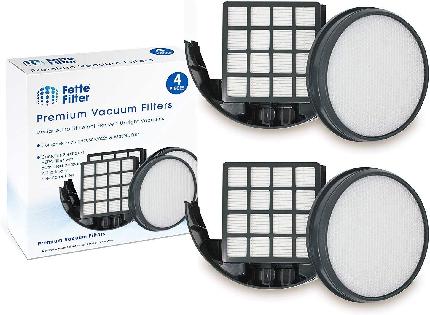 Fette Filter - Upright Vacuum Filter Kit Compatible with Hoover WindTunnel 3 Pro Pet. Compare to Part # 303903001 & 305687002. (Pack of 2)