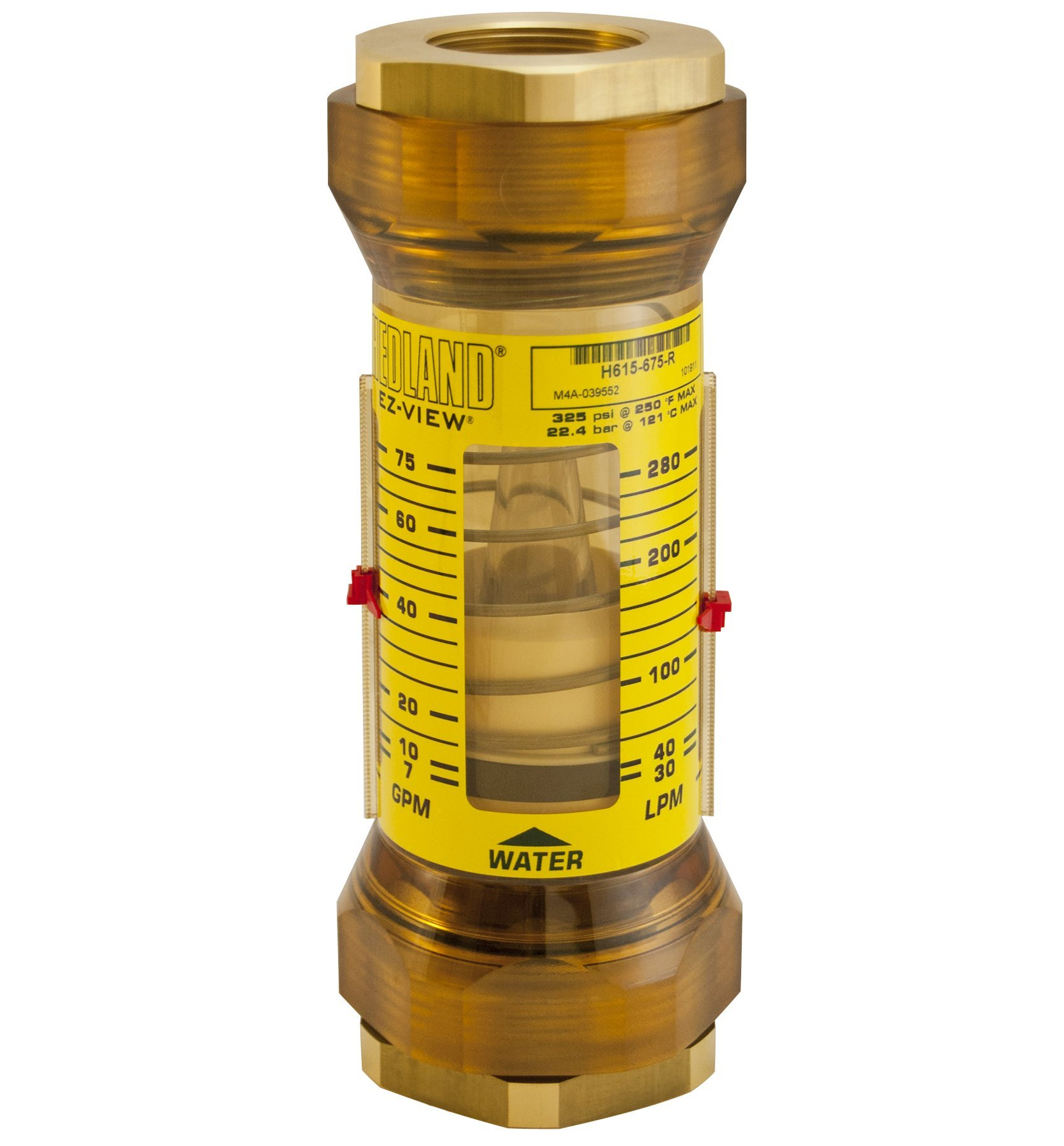 Hedland H617-650-R EZ-View Flowmeter With Sensor, Polyphenylsulfone, For Use With Water, 20.0 to 190.0 lpm Flow Range, 2'' NPT Female