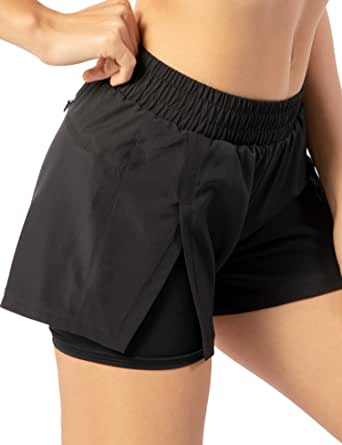 AJISAI Women's 2 in 1 Running Shorts with Zip Pocket Athletic Workout Sports Shorts