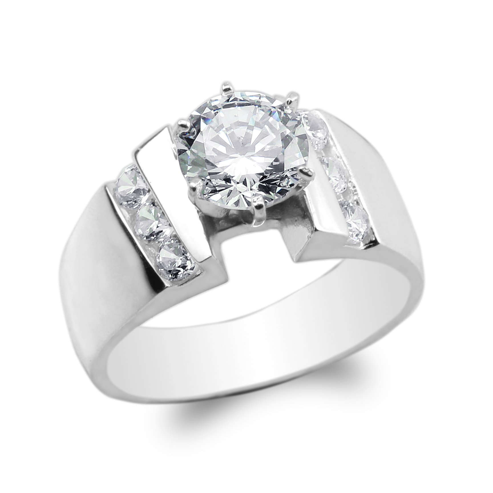 JamesJenny Ladies 925 Sterling Silver Round CZ Solitaire Wide Band Ring Size 5.5