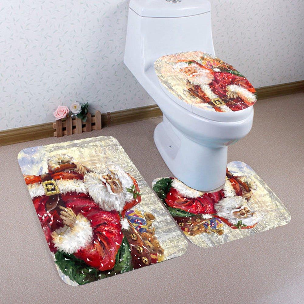 Lesser Panda Christmas toilet set cover and rug set,Christmas Bathroom Set (12)