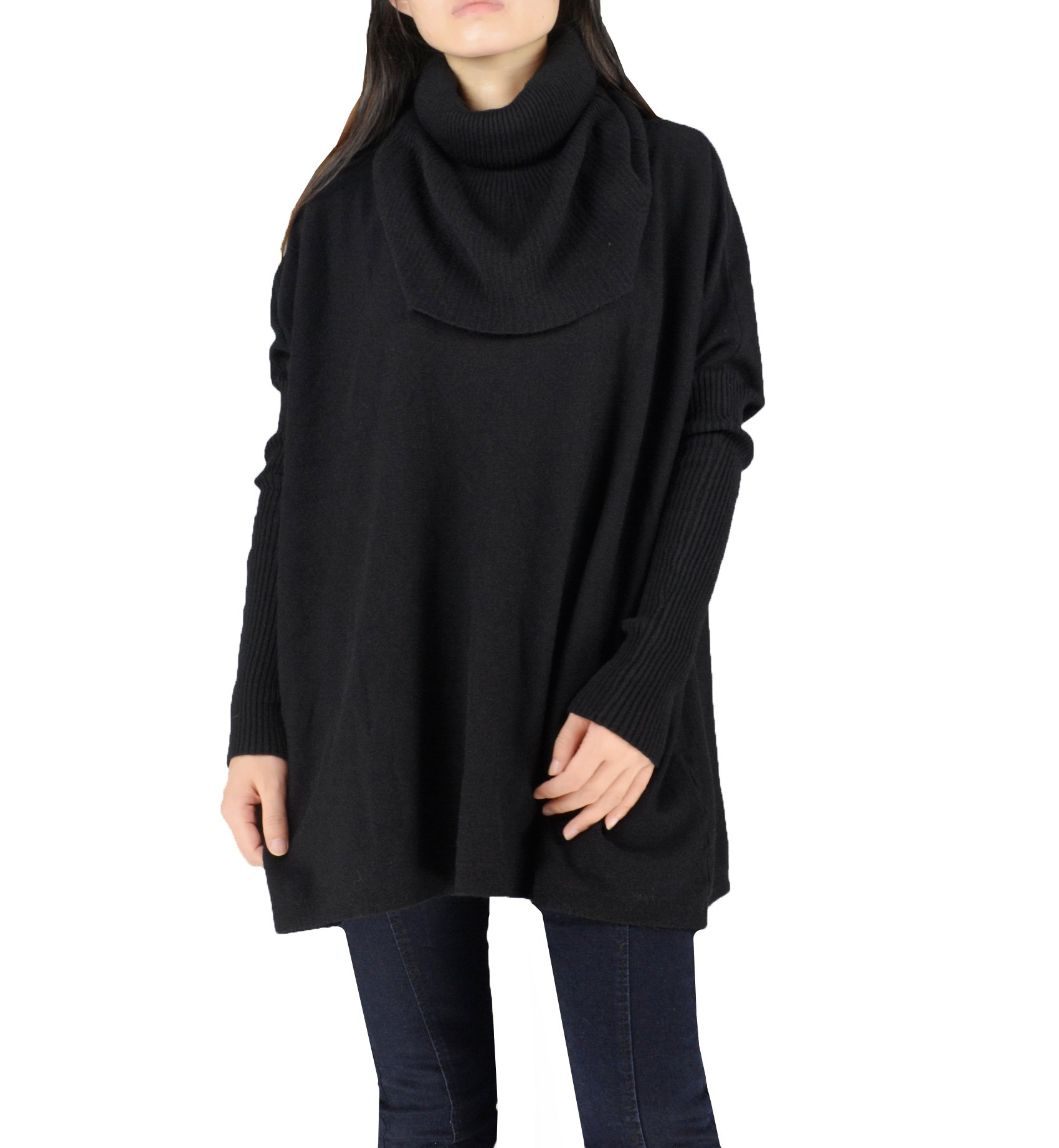 YSJ Womens Oversized Turtleneck Long Sleeve Knit Pullover Sweater Shirts (One Size, Black)