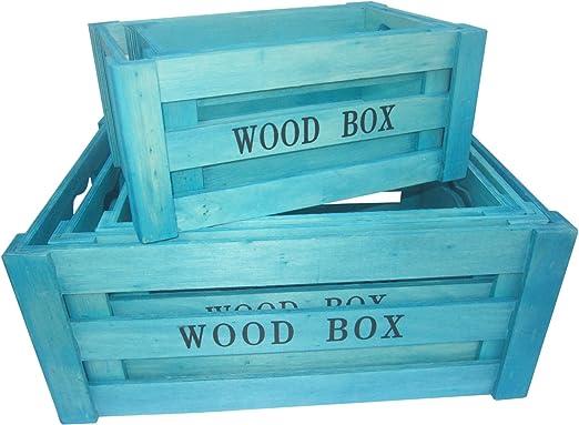 5 x caja de madera caja azul turquesa virutas de madera caja ...