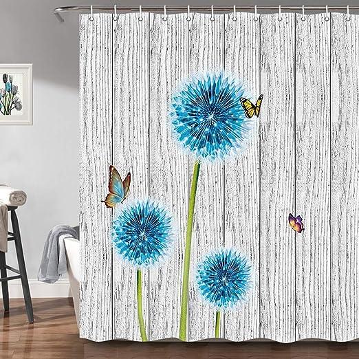 1pc Shower Curtain Modern Style Bathroom Curtain Printing Home Decor Free Hooks