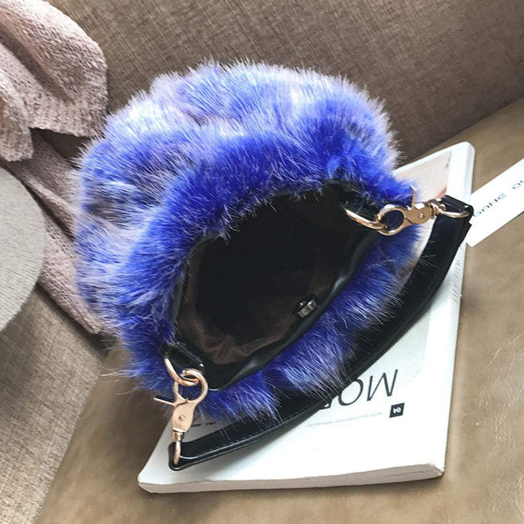 Dsxnklnd Ladies Faux Fur Crossbody Shoulder Bag Handbag Tote Purse Satchel Plush Shoulder Bag