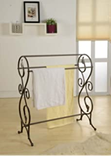 Amazon.com: Southern Enterprises Scroll 3 Blanket Rack, Black with ... : metal quilt rack - Adamdwight.com