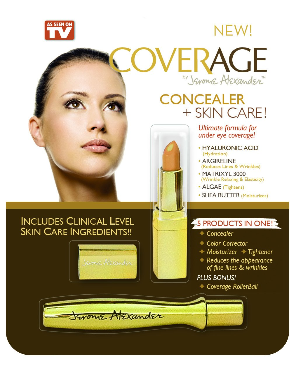 CoverAge by Jerome Alexander - A 5-in-1 Concealer Stick and Rollerball for Undereye Coverage Makeup - Concealer, Corrector, Moisturizer and Tightener All-In-One