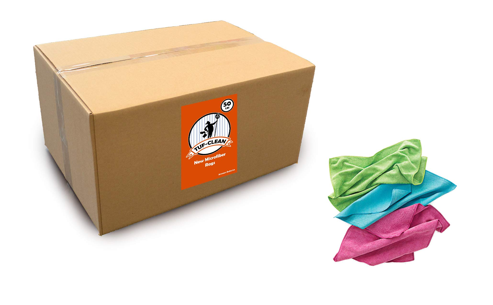 Tuf-Clean A73128 Brand New Rags, Microfiber, Assorted Colors, 50 lb Box