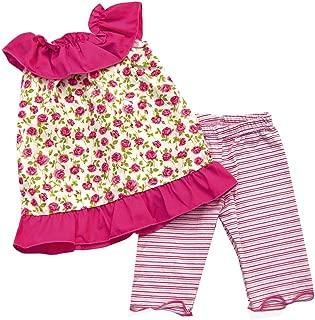 product image for Cheeky Banana Sweet Little Girls Roses Ruffle Collar Tunic Set Fuchsia