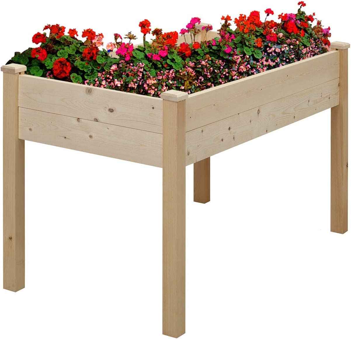 "Raised Garden Bed Planter Box with Legs, Wood, Tool-Free, 48"" x 24"""