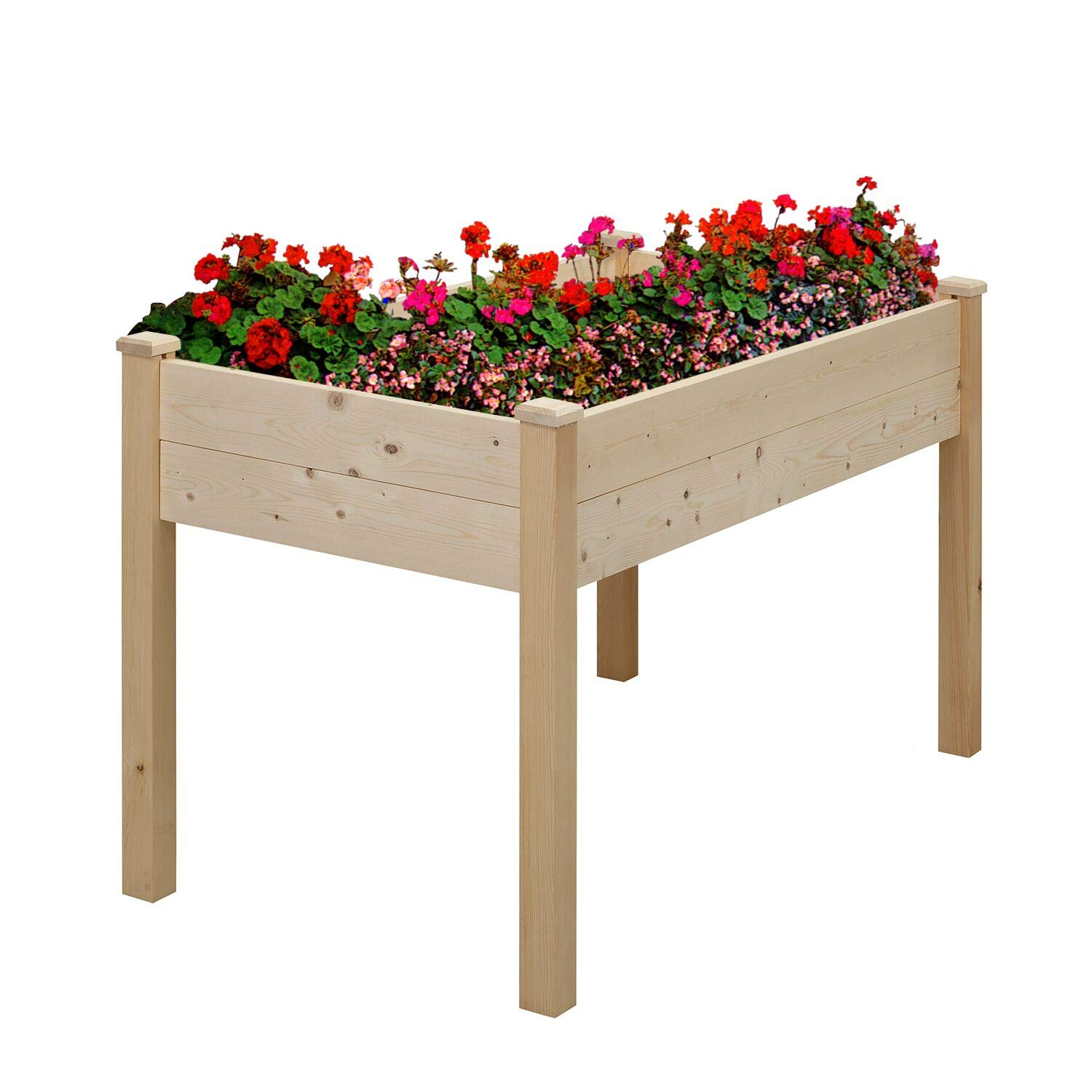 Raised Garden Bed Planter with Legs, Wood, 48'' x 24'' x 30'', Tool-Free