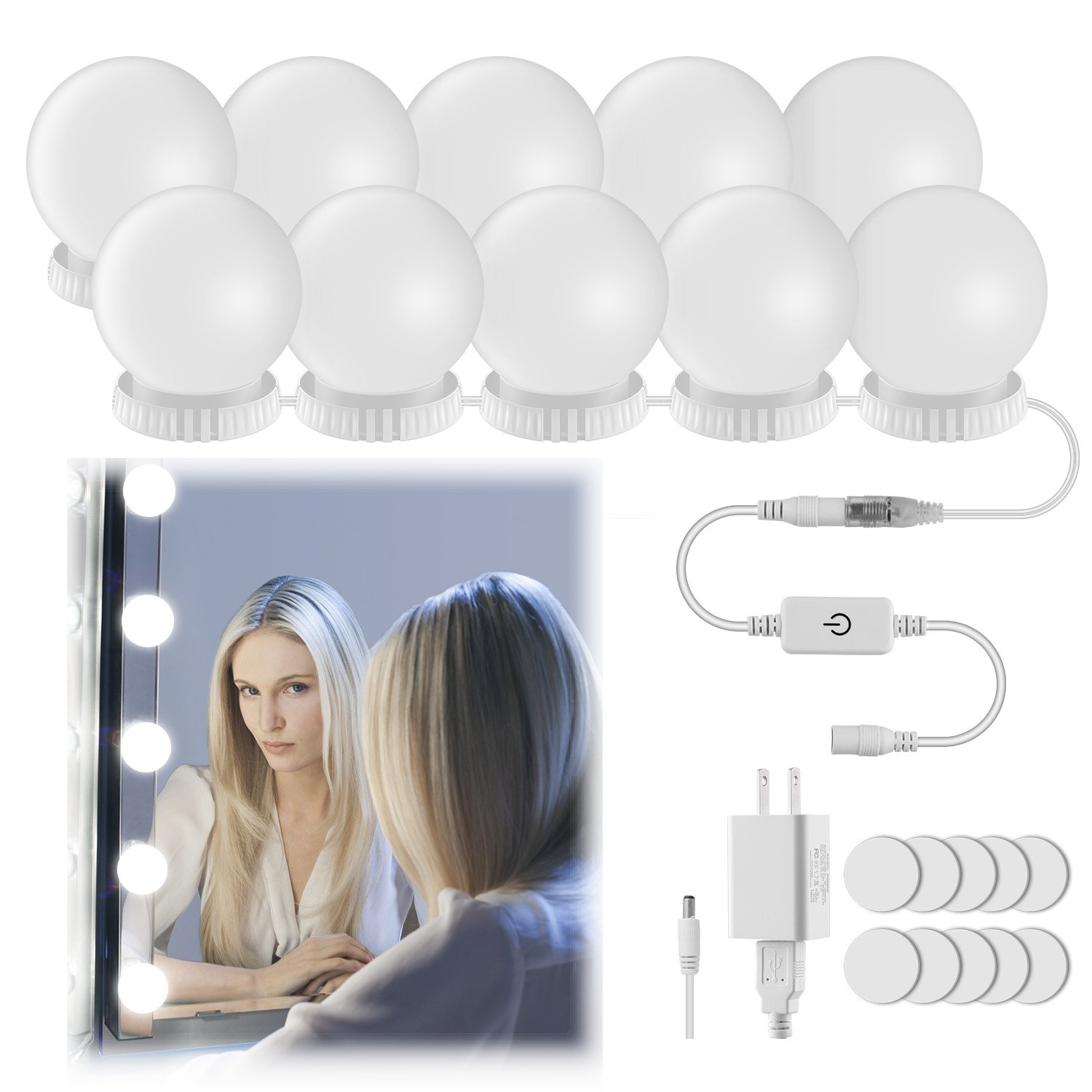 Vanity Mirror Lights,Elitlife Hollywood Style LED Makeup Mirror Lights Kit with 7000K Dimmable Bulbs and Touch Dimmer for Makeup Vanity Table Set in Dressing Room (Mirror Not Include)