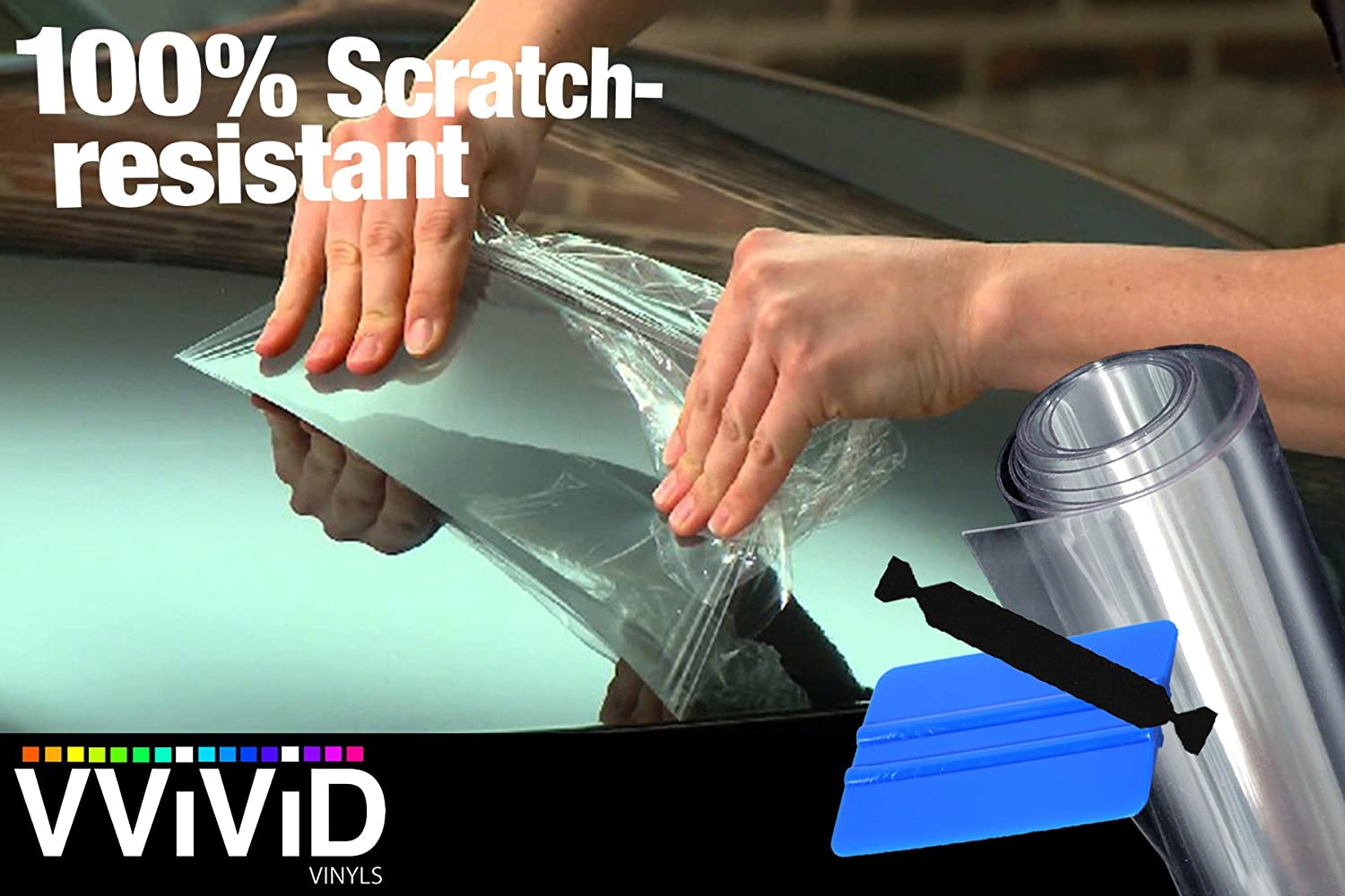 VViViD Clear Paint Protection Bulk Vinyl Wrap Film Including 3M Squeegee and Black Felt Applicator (17.9' x 54')