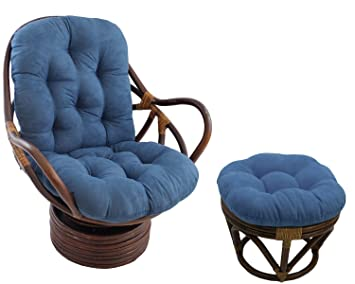 Papasan All Natural Rattan Swivel Rocker And Ottoman With Indigo Micro  Suede Cushion