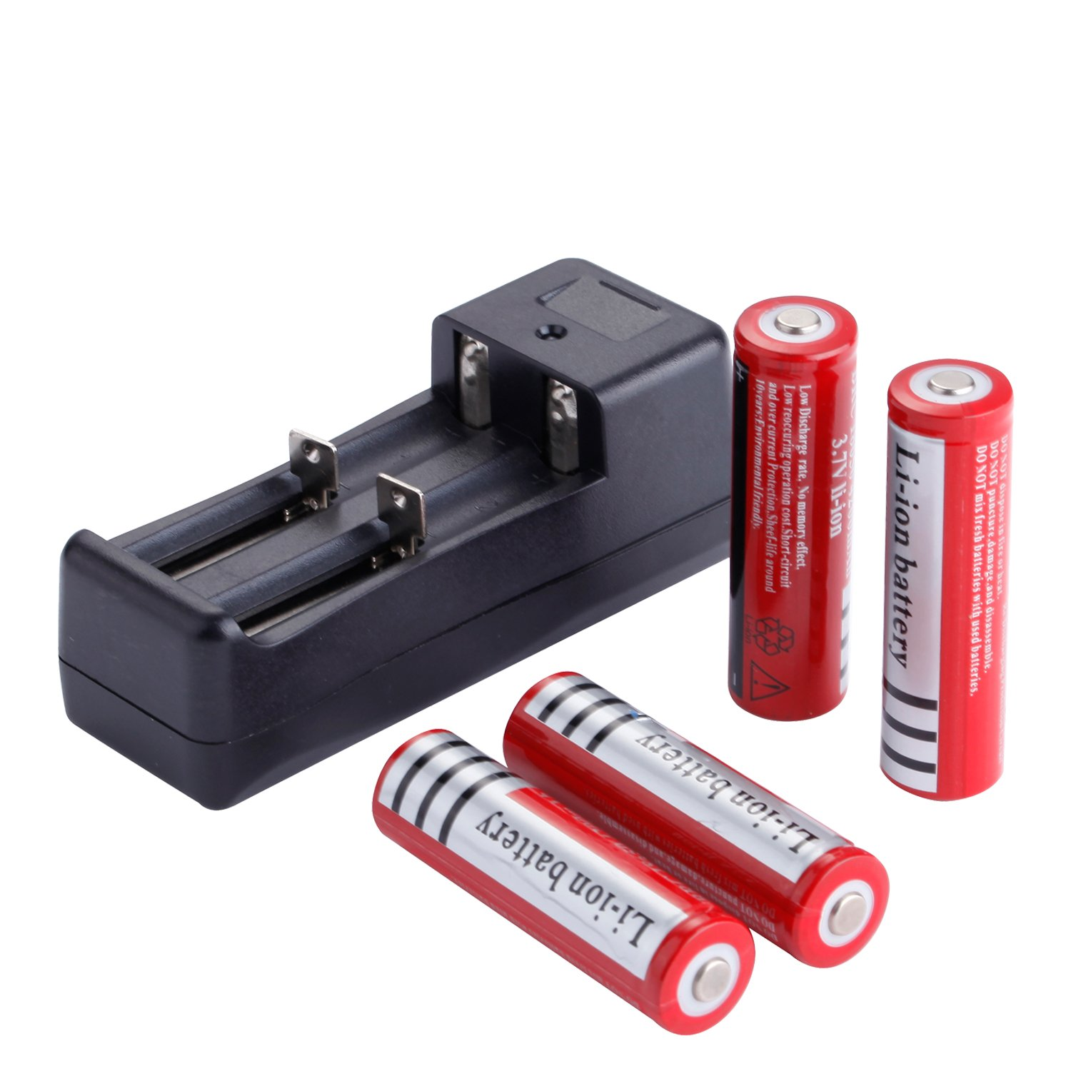 Deruicent 4 Pack 3.7V 18650 Rechargeable Li-ion Battery with Charger for High-power LED Flashlights, Headlamps