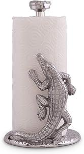 "Arthur Court Designs Aluminum Alligator/Gator/Crocodile Paper Towel Holder Aluminum Metal 12.5"" Standing Tall on Countertop"
