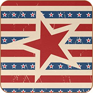 Beverage Coaster - American Patriotic Stars Ceramic Drinks Coasters with Leather, 6 Pieces Sets