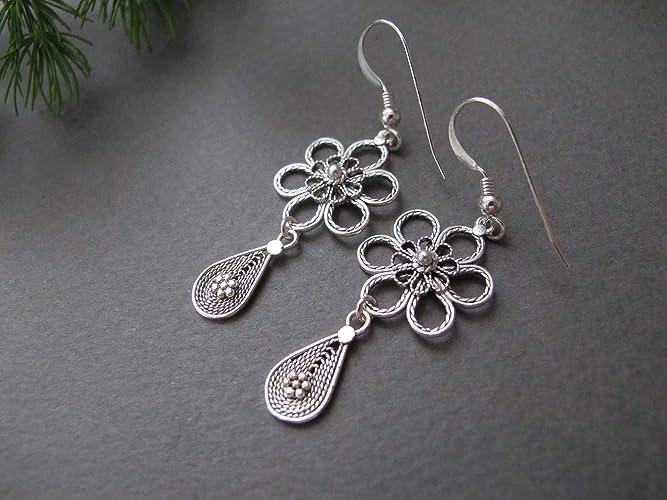 b02b41886 Amazon.com: Silver Filigree earrings, Silver flower earrings, Israel jewelry,  yemenite jewelry, dangle earrings, drop earrings, Ethnic earrings: Handmade