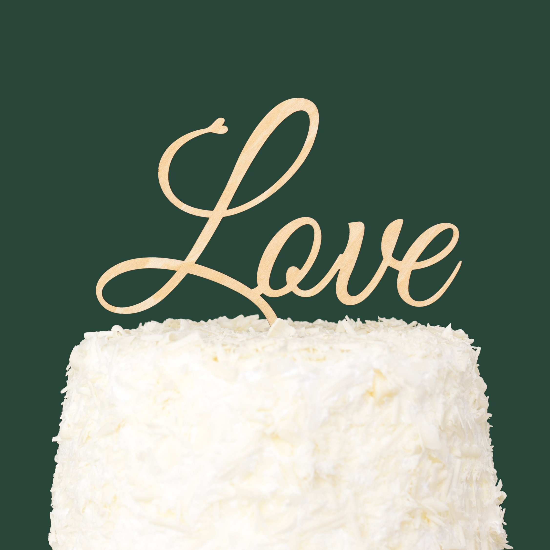 LOVENJOY with Gift Box LOVE Monogram Wedding Engagement Cake Topper Rustic Wood, 6.1-inch by LOVENJOY (Image #4)