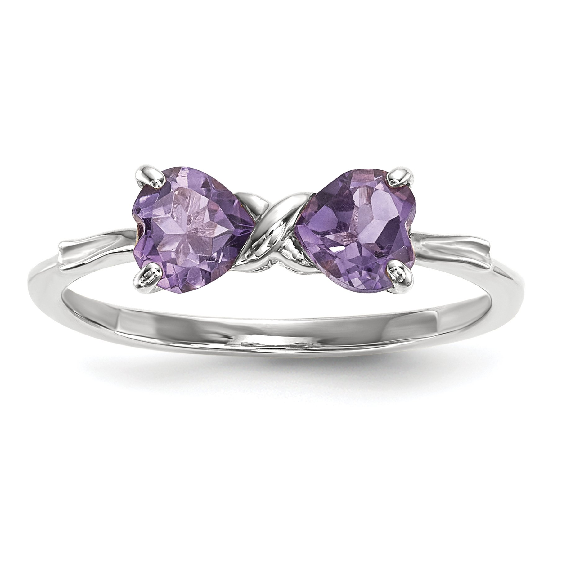 ICE CARATS 14k White Gold Purple Amethyst Bow Band Ring Size 7.00 Birthstone February Set Style Fine Jewelry Gift Set For Women Heart