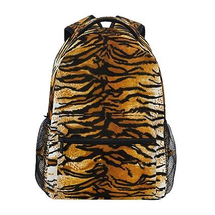 ZZKKO Retro Animal Tiger Print Mochilas Colegio Libro Bolsa Viaje Senderismo Camping Daypack