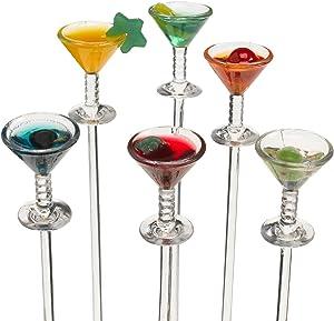 Prodyne Colorful Martini Picks Plastic, Multicolored (Set of 6)