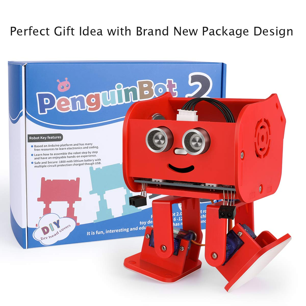 ELEGOO Penguin Bot Biped Robot Kit for Arduino Project with Assembling Tutorial,STEM Kit for Hobbyists, STEM Toys for Kids and Adults, Red Version by ELEGOO (Image #5)