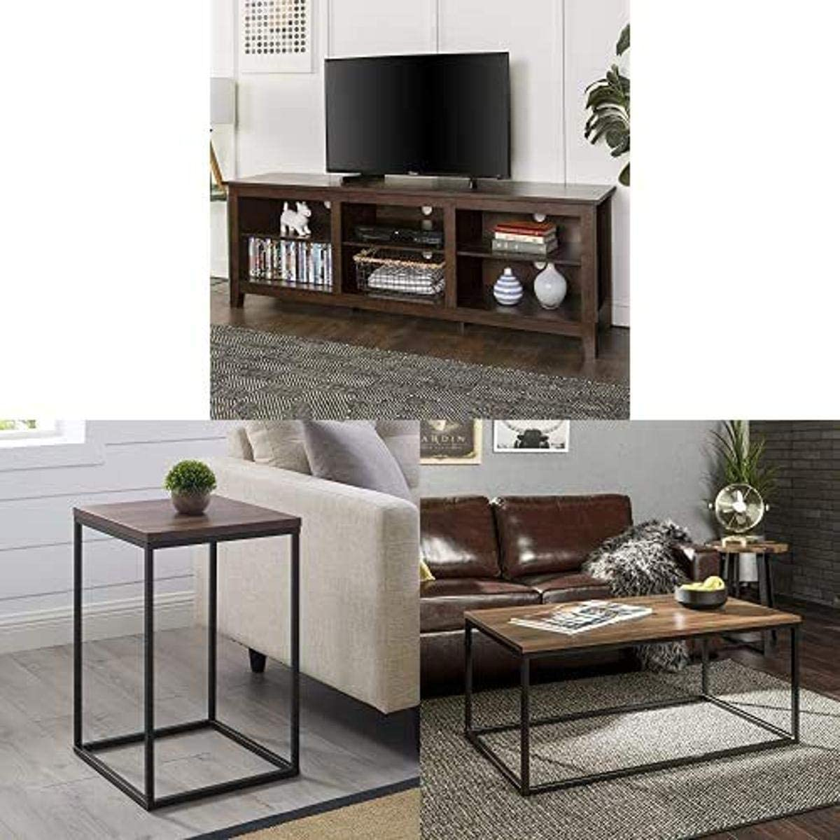 Walker Edison Furniture Company Minimal Farmhouse Wood Universal Stand for TV with Square Wood Side Accent Small End Table, 16 Inch and WE Furniture Rectangle Coffee Accent Table,42 Inch,Walnut Brown